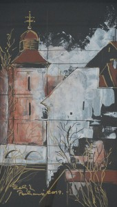 Željka Perković, Samostan 40 x 70 cm kombinirana tehnika