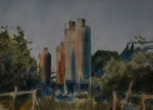 Branimir Pešut Prizor  II akvarel na papiru 56 x 76 cm
