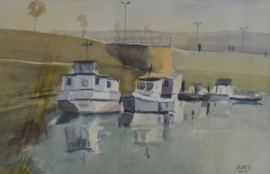 Ivan  Katić,  Kod granika  45x 55 cm, akvarel na papiru