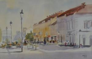 Ivan  Katić,  Korzo   45x 55 cm, akvarel na papiru