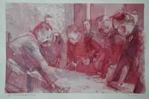 """Ivica Kurtz,  """"22. siječnja 1942"""" .akvarel na papiru 56 x 38 cm"""