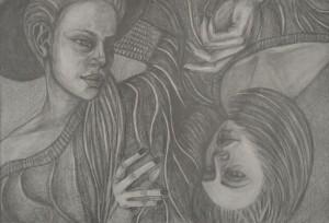 Matilda Mueller Kruljac, Čarobnice, crtež olovkom na papiru 70 x 50 cm