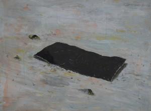 Zlatko Kozina, Black square down 40 x 50 cm akrilik tuš gvaš olovka na papiru